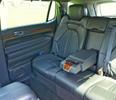 Interior view of backseat in Lincoln town car from Echo Limousine in Chicago, IL