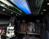 Back row of seats in Lincoln stretch limo from Echo Limousine in Chicago, IL