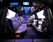 View of Echo Limousine in Chicago, IL Lincoln stretch limo seating and amenities from back seat
