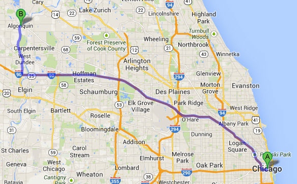 chicago-limo-to-algonquin-il-map