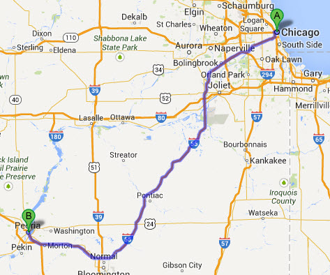 chicago-limo-to-peoria-il-map