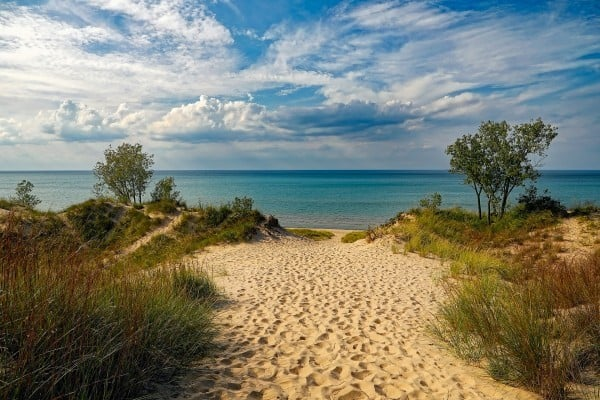 View of beach and Lake Michigan from the Indiana Dunes