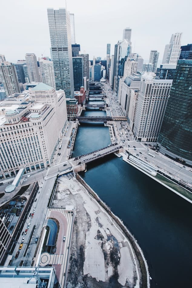 A high view of the city of chicago