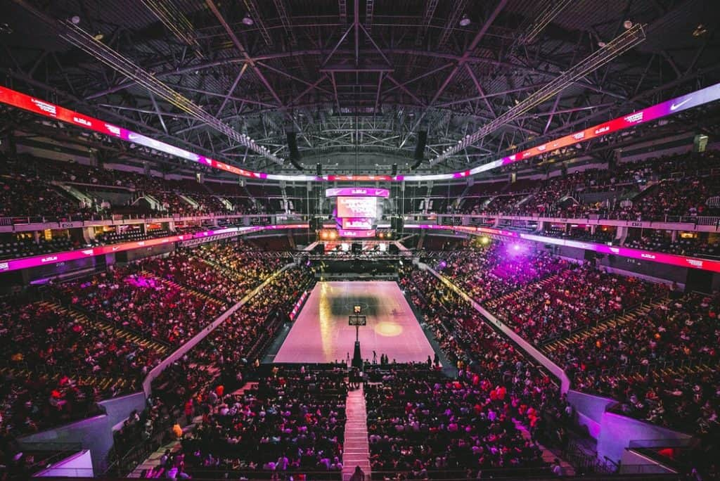 A basketball stadium filled with people
